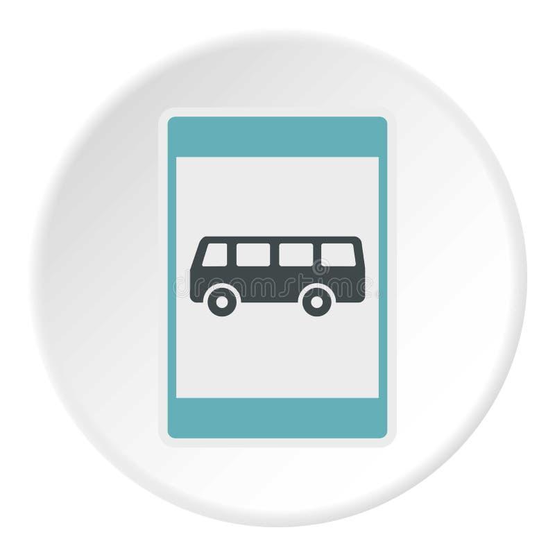 Ícone da parada do ônibus do sinal, estilo liso ilustração stock