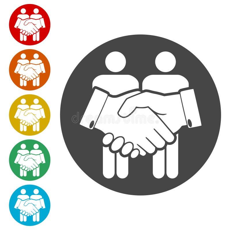Ícone da parceria, ícone do aperto de mão ilustração stock