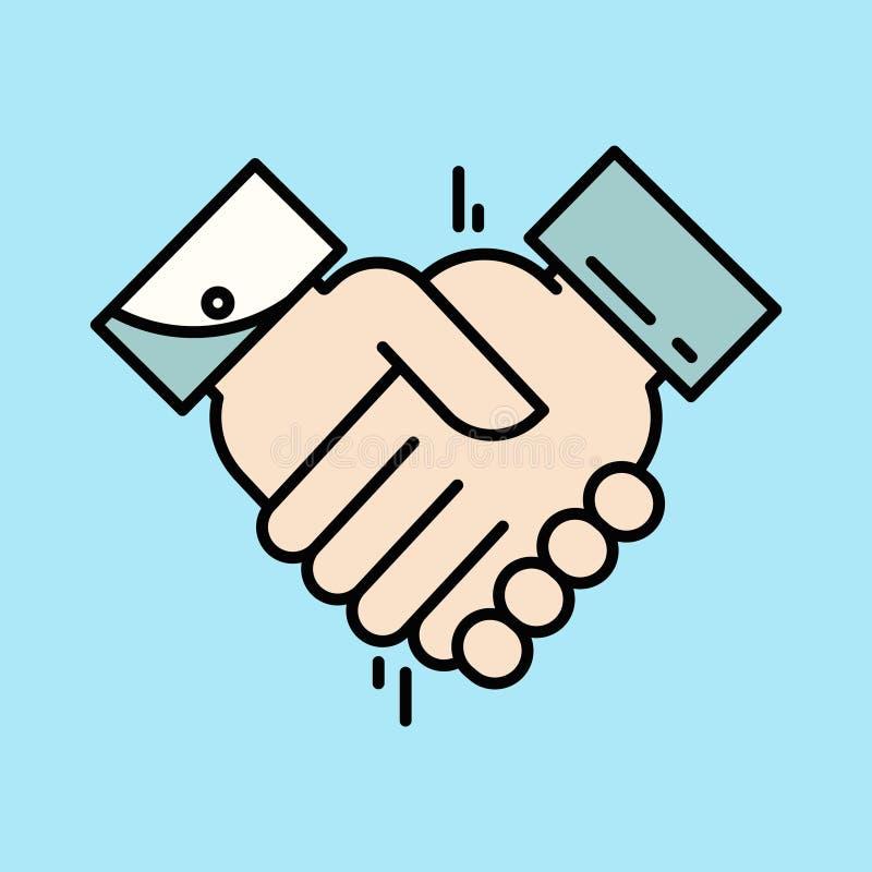 Ícone da parceria ou do aperto de mão Trabalhos de equipa e amizade Conceito do negócio ilustração royalty free