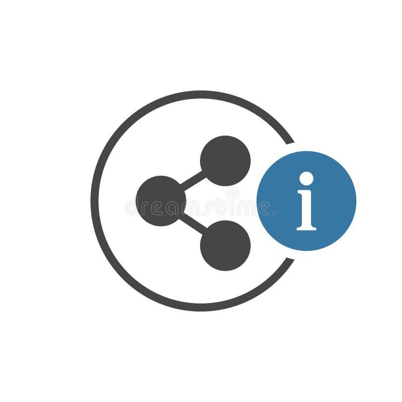 Ícone da parte com sinal da informação Compartilhe do ícone e aproximadamente, FAQ, ajuda, símbolo da sugestão ilustração stock