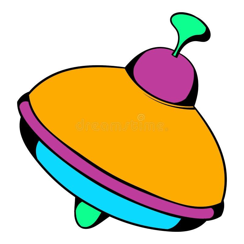 Ícone da parte superior de giro do brinquedo, desenhos animados do ícone ilustração royalty free