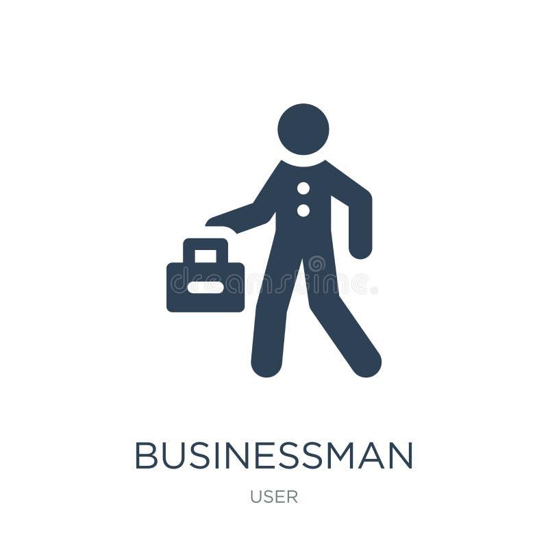 ícone da pasta do homem de negócios no estilo na moda do projeto ícone da pasta do homem de negócios isolado no fundo branco Home ilustração royalty free