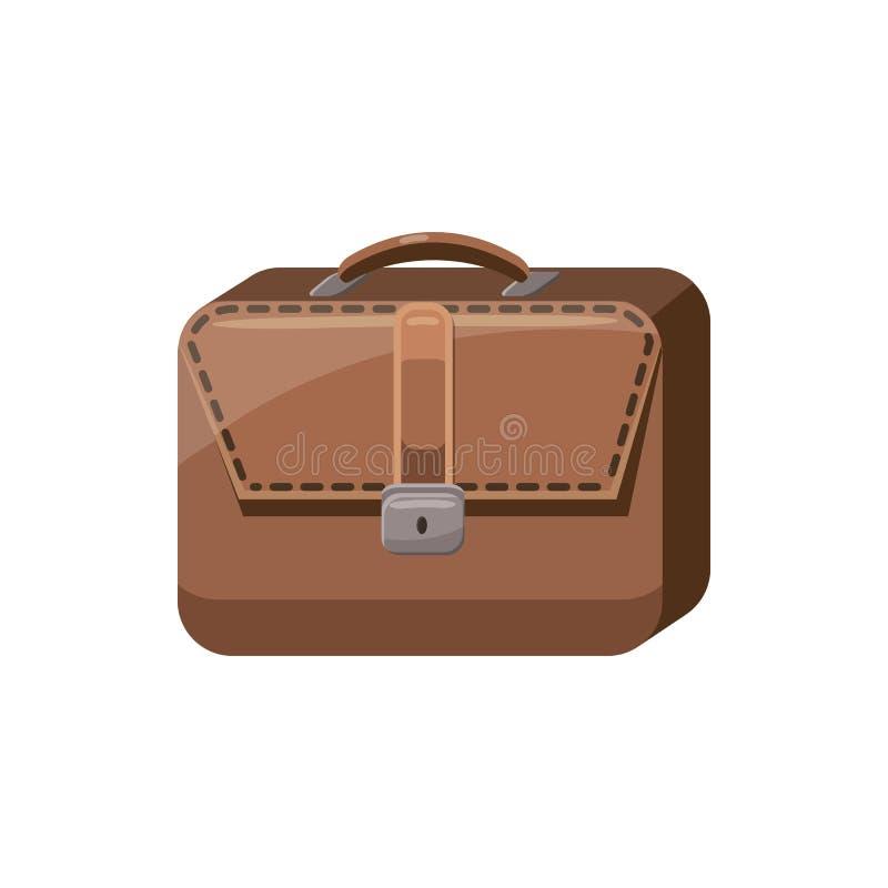 Ícone da pasta do negócio de Brown, estilo dos desenhos animados ilustração stock