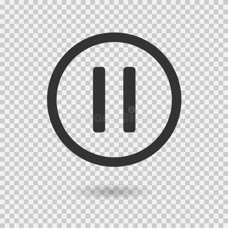 Ícone da pausa com sombra Botão do vetor para a Web ou o app ilustração stock
