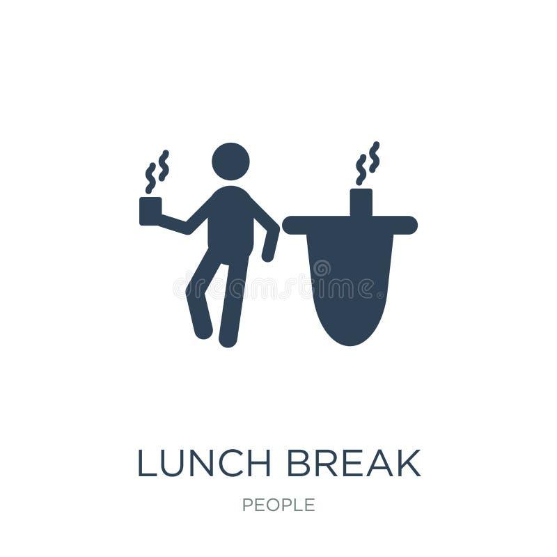 ícone da pausa para o almoço no estilo na moda do projeto ícone da pausa para o almoço isolado no fundo branco ícone do vetor da  ilustração royalty free