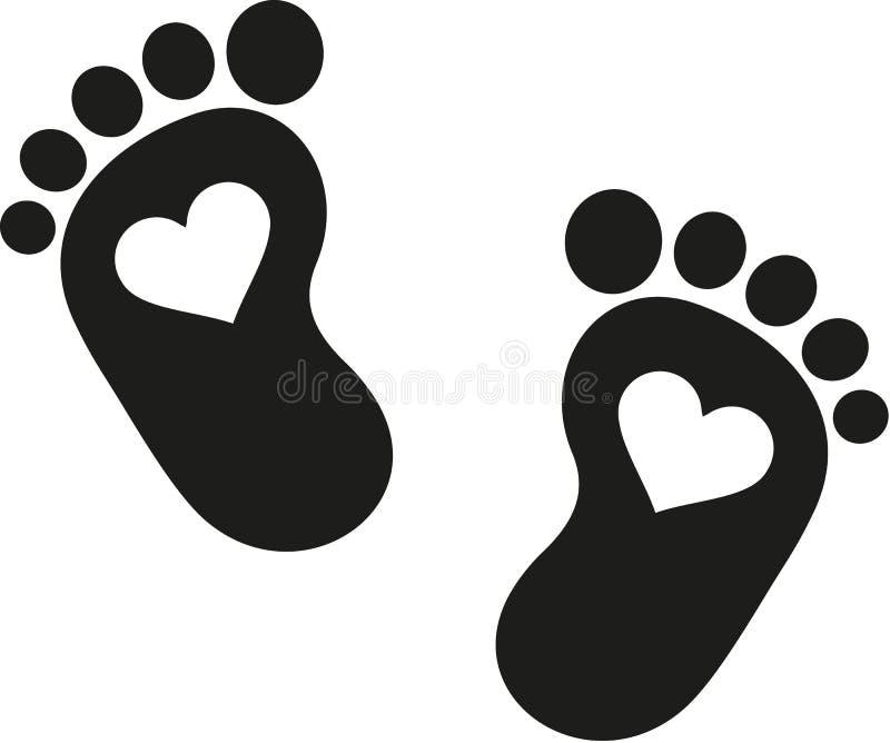 Ícone da pegada do bebê com corações ilustração royalty free