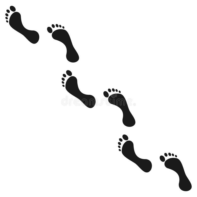 Ícone da pegada Ser humano com os pés descalços, ilustração do vetor ilustração stock