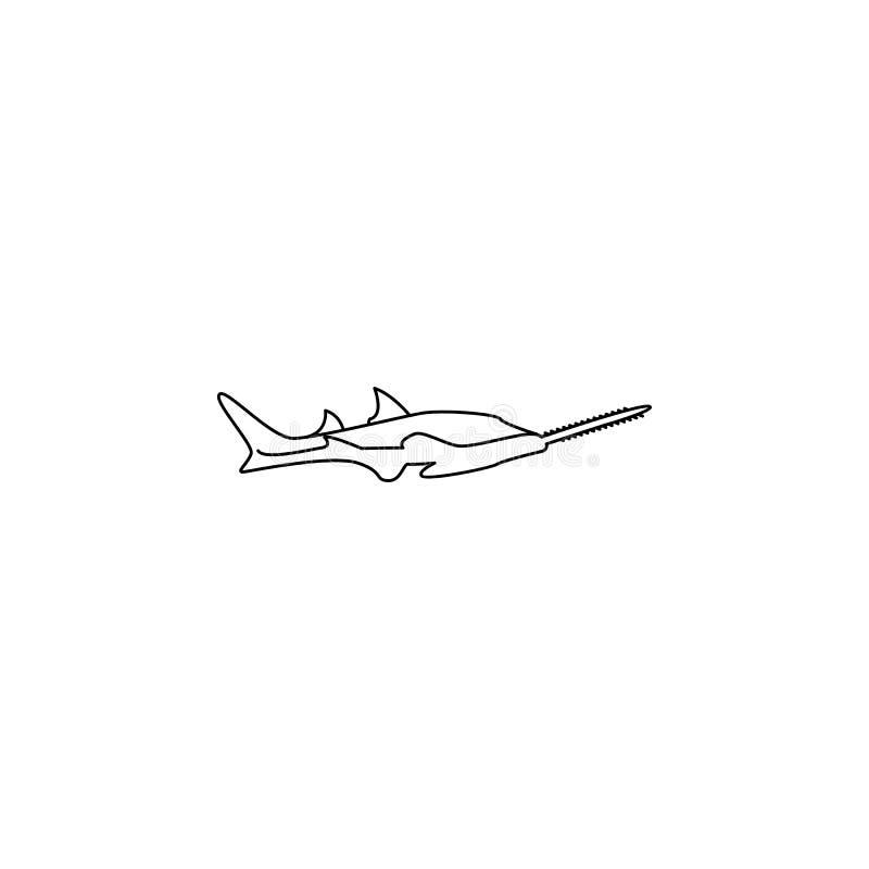 ícone da peixe-serra Elemento do ícone popular dos animais de mar Projeto gráfico da qualidade superior Sinais, ícone da coleção  ilustração stock