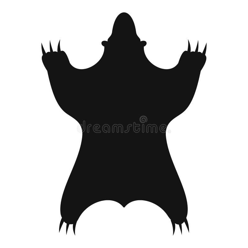 Ícone da pele do urso, estilo simples ilustração do vetor