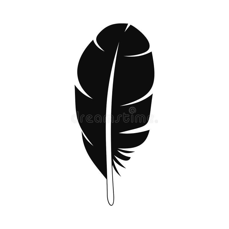 Ícone da pena branca, estilo simples ilustração do vetor