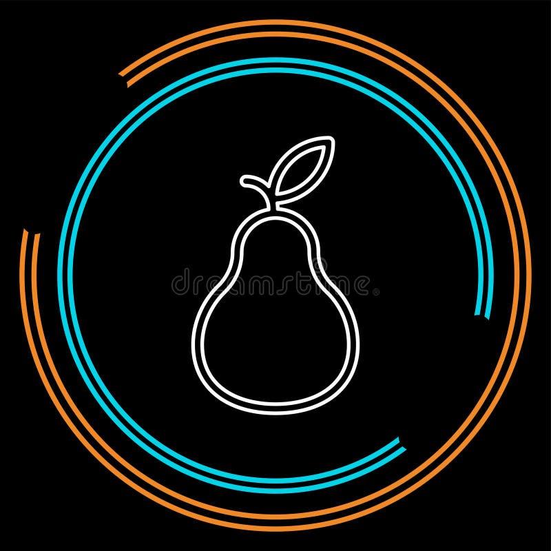Ícone da pera, ilustração do fruto fresco, símbolo orgânico da natureza ilustração stock