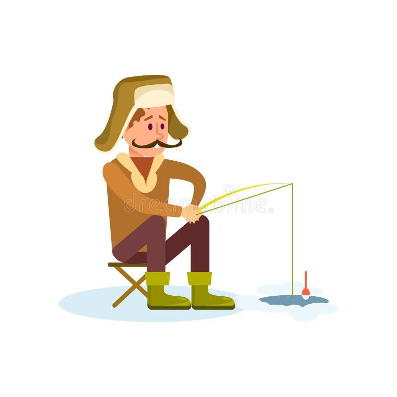 Ícone da pesca do inverno com pescador ilustração do vetor