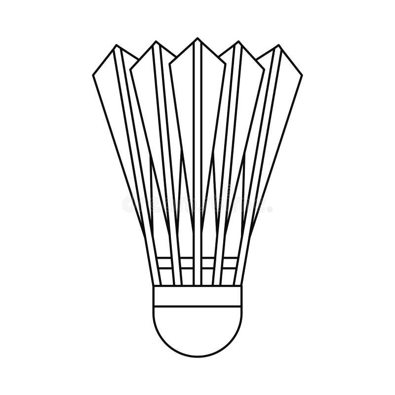 Ícone da peteca do badminton, estilo do esboço ilustração do vetor