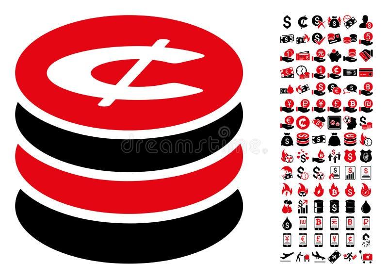 Ícone da pilha das moedas do centavo com os 90 pictograma do bônus ilustração stock