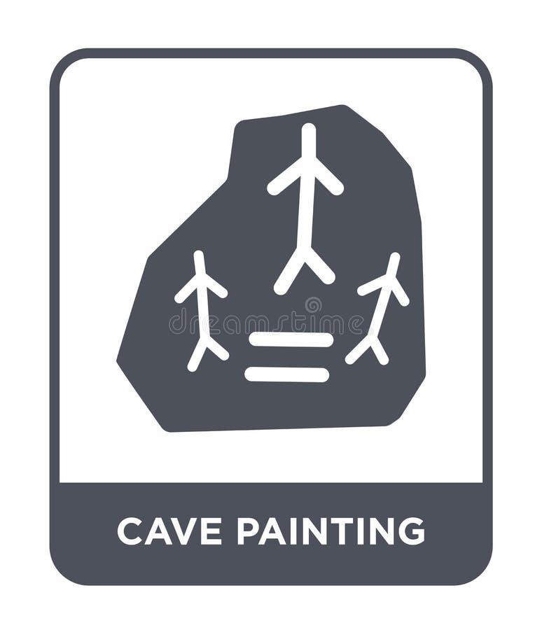 ícone da pintura de caverna no estilo na moda do projeto ícone da pintura de caverna isolado no fundo branco ícone do vetor da pi ilustração do vetor
