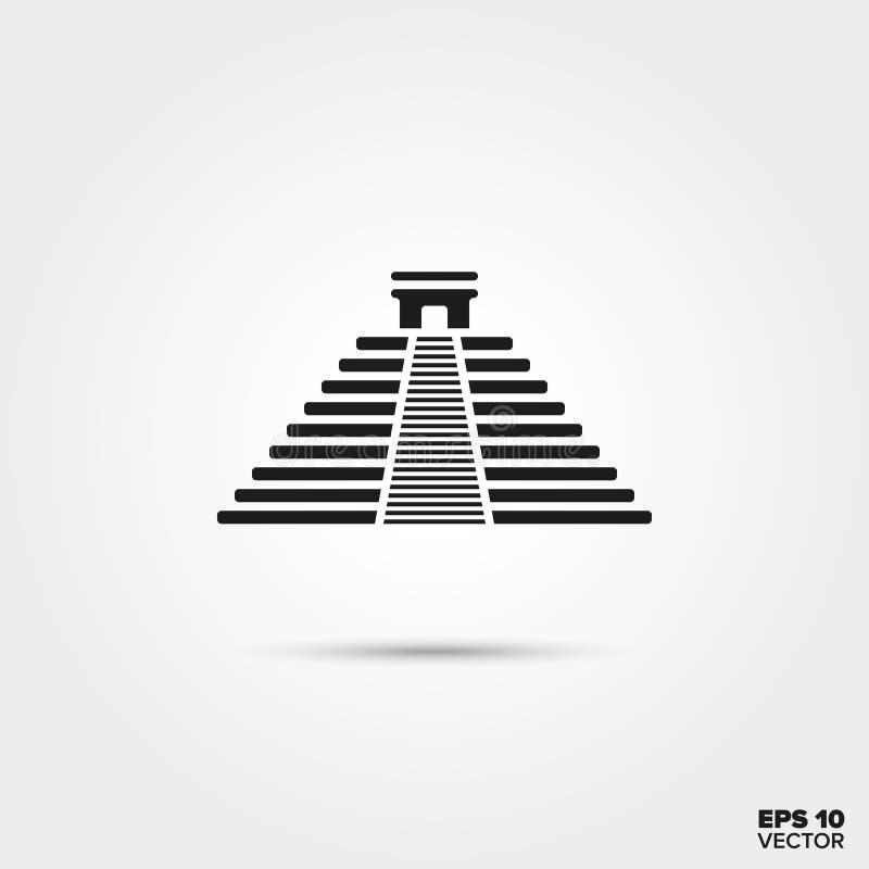 Ícone da pirâmide do Maya de Chichen Itza ilustração do vetor