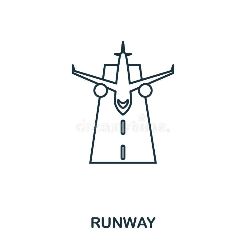Ícone da pista de decolagem Linha fina estilo do esboço da coleção dos ícones do aeroporto Ícone perfeito para o design web, apps ilustração royalty free