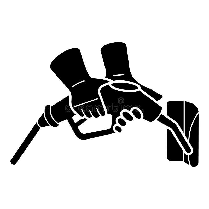 Ícone da pistola do combustível da tomada da mão, estilo simples ilustração stock
