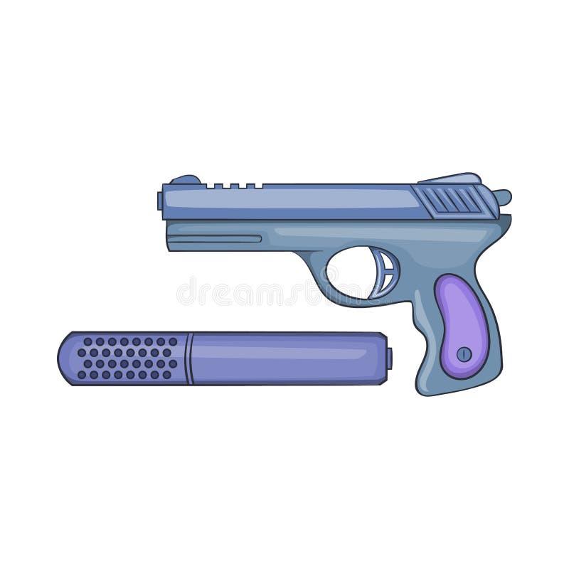 Ícone da pistola e do silenciador, estilo dos desenhos animados ilustração stock