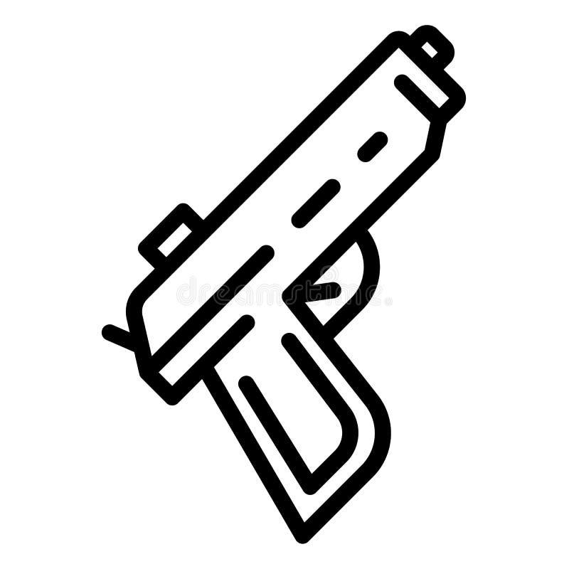Ícone da pistola da polícia, estilo do esboço ilustração stock