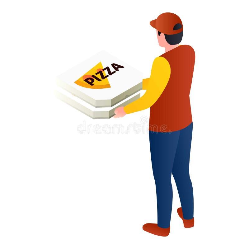 Ícone da pizza da entrega do correio, estilo isométrico ilustração do vetor