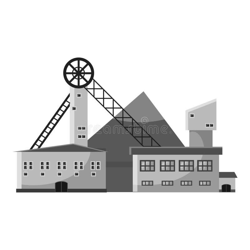 Ícone da planta de produção, estilo monocromático cinzento ilustração royalty free