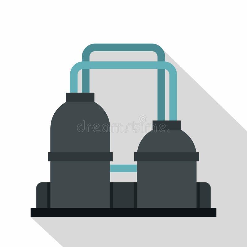 Ícone da planta de refinaria de petróleo, estilo liso ilustração stock