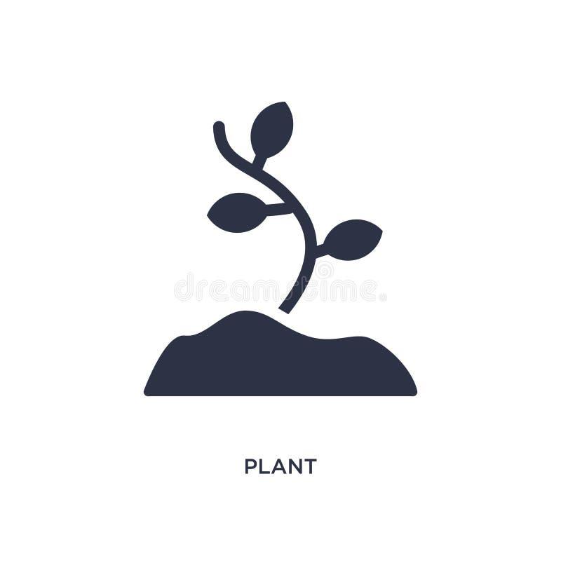 Ícone da planta no fundo branco Ilustração simples do elemento do conceito da Idade da Pedra ilustração royalty free