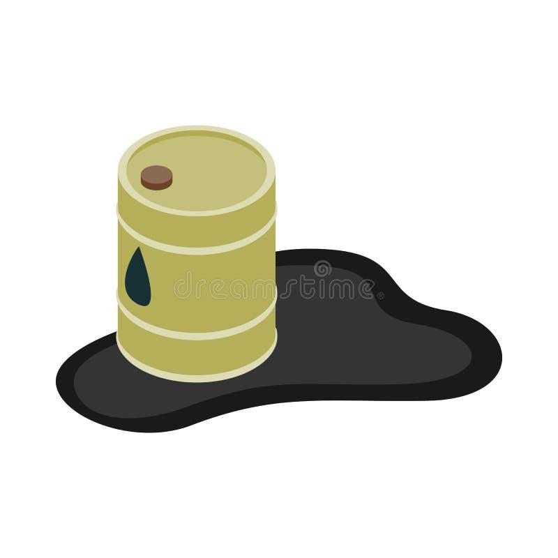 Ícone da poça do derramamento do tambor de óleo, estilo 3d isométrico ilustração do vetor
