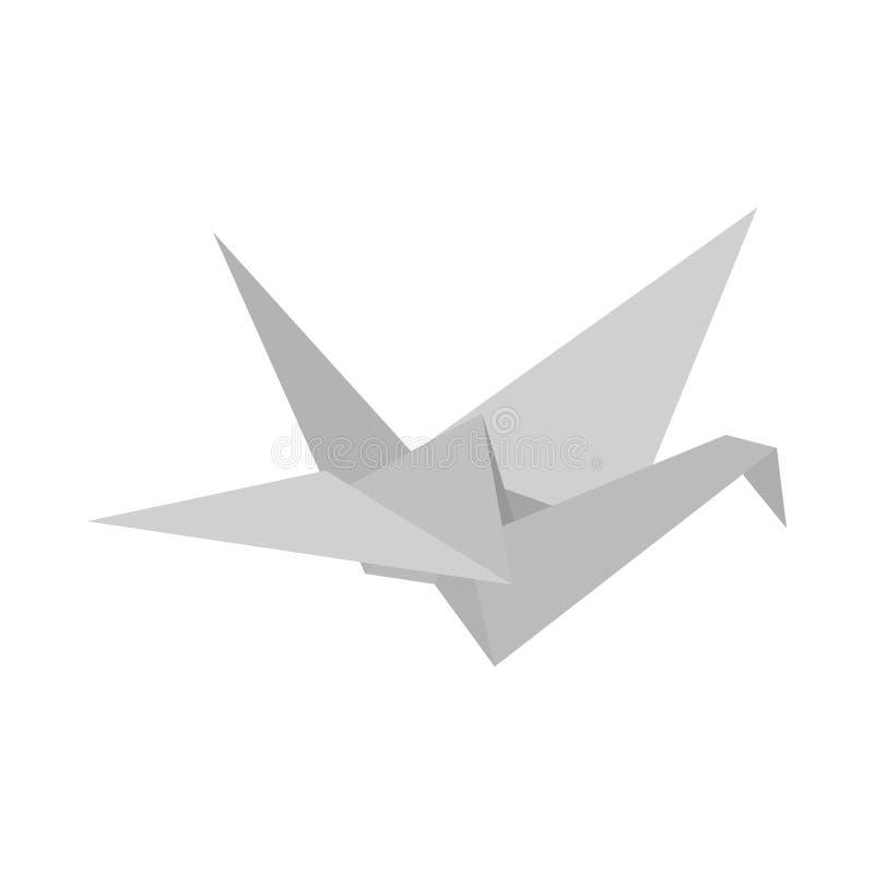 Ícone da pomba do papel, estilo 3d isométrico ilustração stock