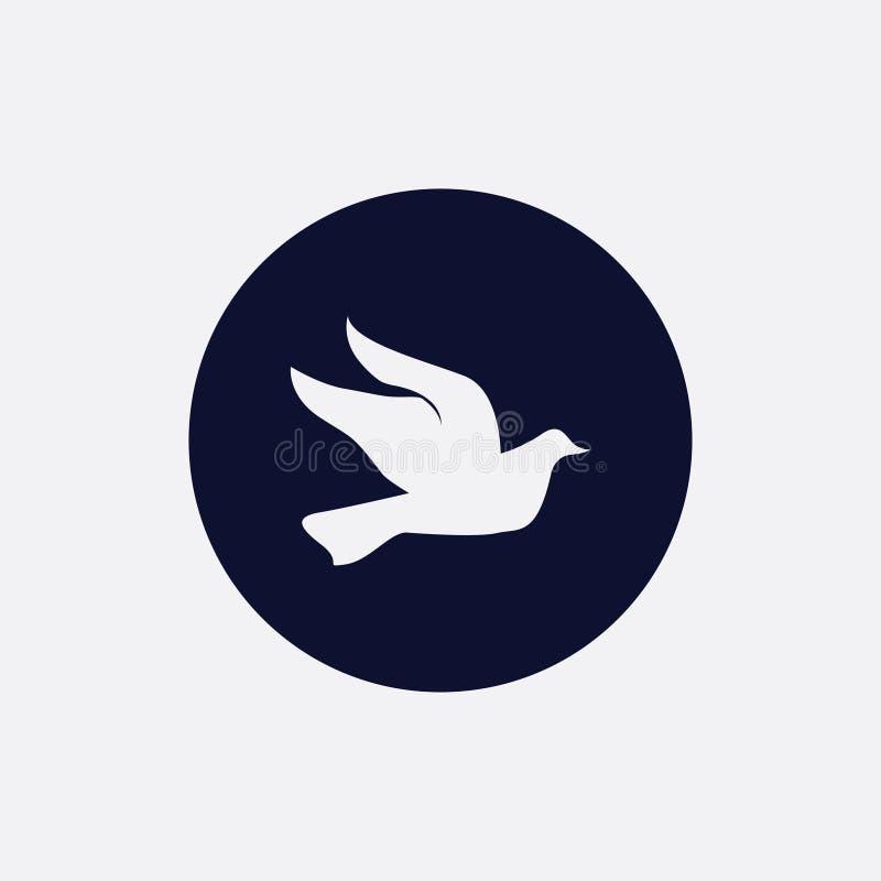 ícone da pomba, ilustração do vetor Ícone redondo liso ilustração stock
