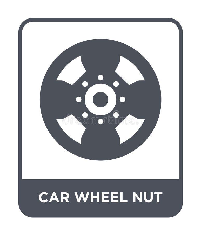 ícone da porca da roda de carro no estilo na moda do projeto ícone da porca da roda de carro isolado no fundo branco ícone do vet ilustração do vetor