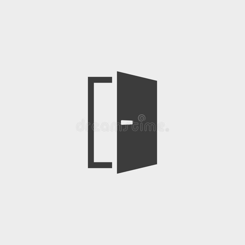 Ícone da porta em um projeto liso Ilustração do vetor ilustração royalty free