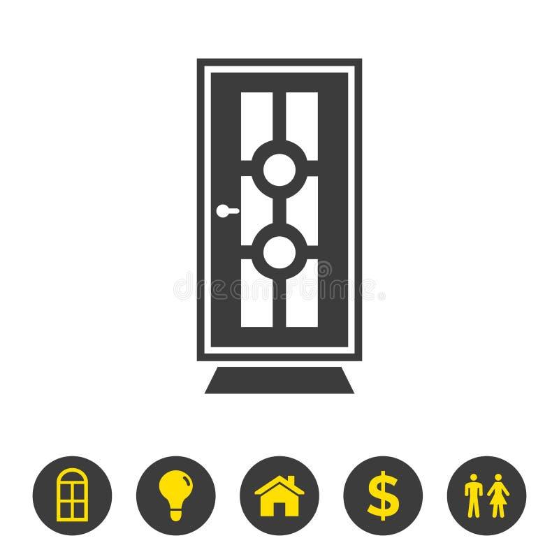 Ícone da porta no fundo branco ilustração stock