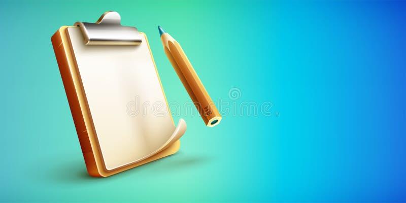 Ícone da prancheta com a folha e o lápis de papel limpos ilustração stock
