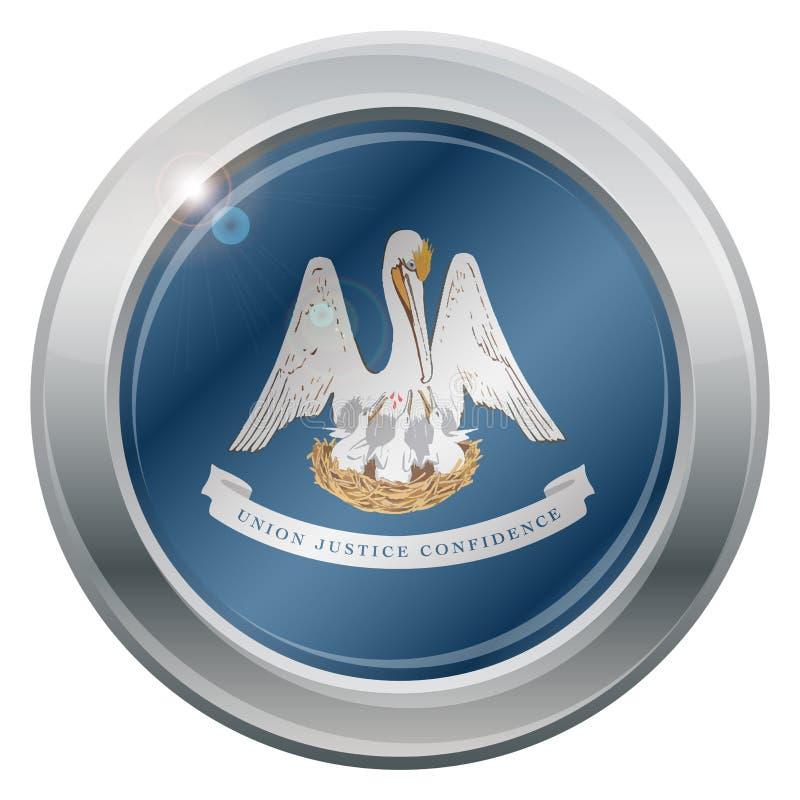 Ícone da prata da bandeira do estado de Louisiana ilustração stock