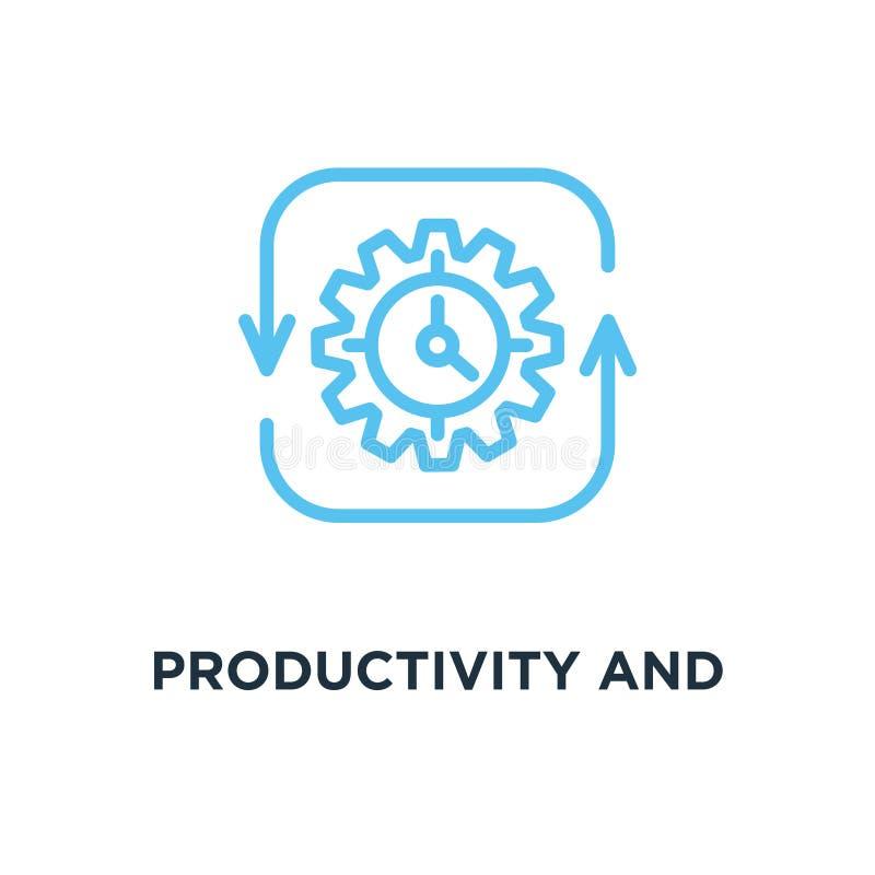 ícone da produtividade e da eficiência produtividade e eficiência co ilustração stock