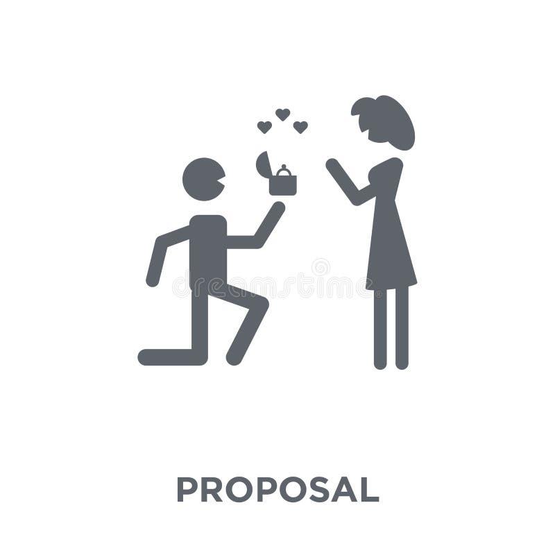 Ícone da proposta da coleção do casamento e do amor ilustração stock