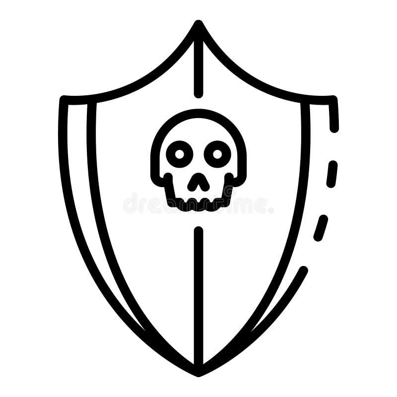 Ícone da proteção do ataque do Cyber, estilo do esboço ilustração stock