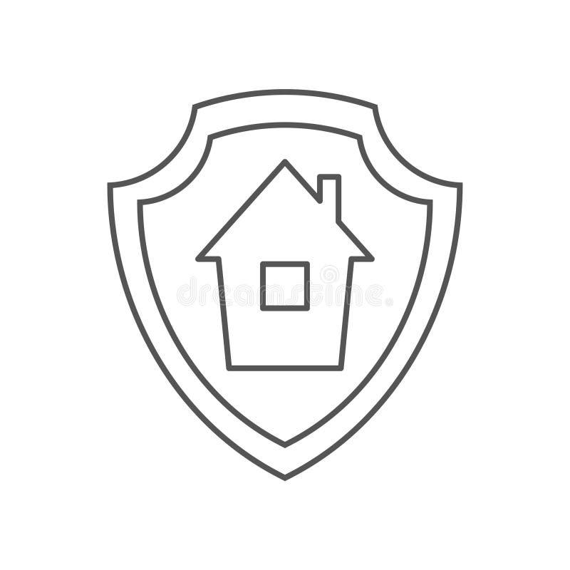Ícone da proteção da hipoteca Ícone do vetor da proteção da hipoteca do esboço para o design web isolado no fundo branco Eps 10 ilustração do vetor