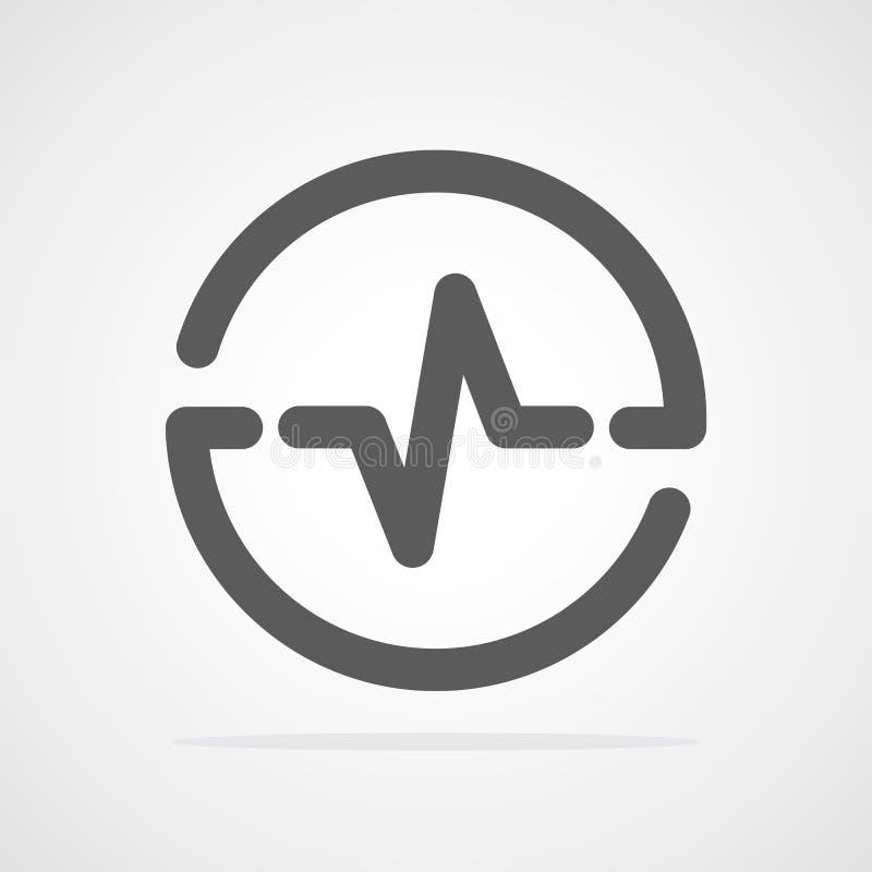Ícone da pulsação do coração no círculo Ilustração do vetor ilustração stock
