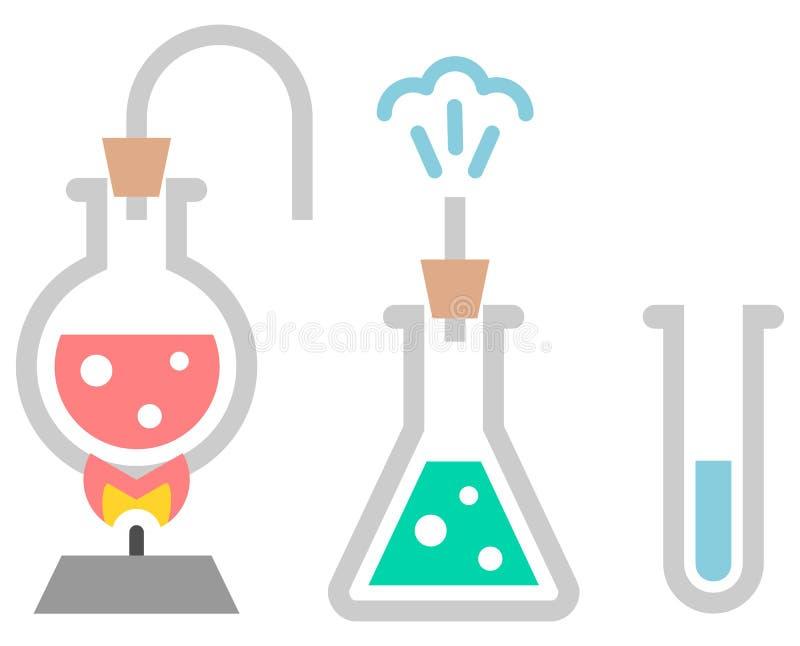 Ícone da química Tubos de ensaio com líquido ilustração do vetor