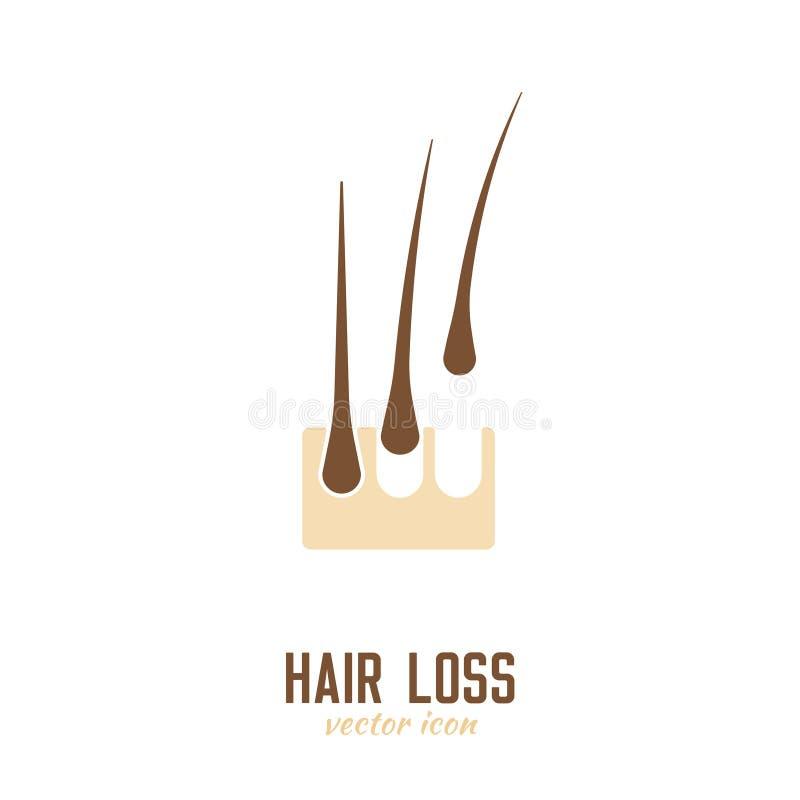 Ícone da queda de cabelo ilustração royalty free