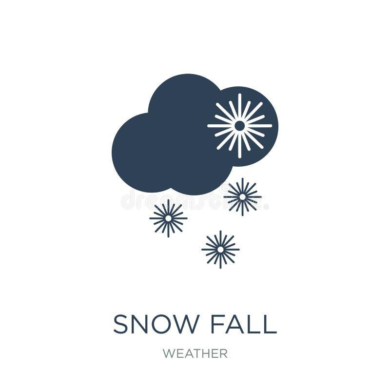 ícone da queda da neve no estilo na moda do projeto ícone da queda da neve isolado no fundo branco plano simples e moderno do íco ilustração do vetor