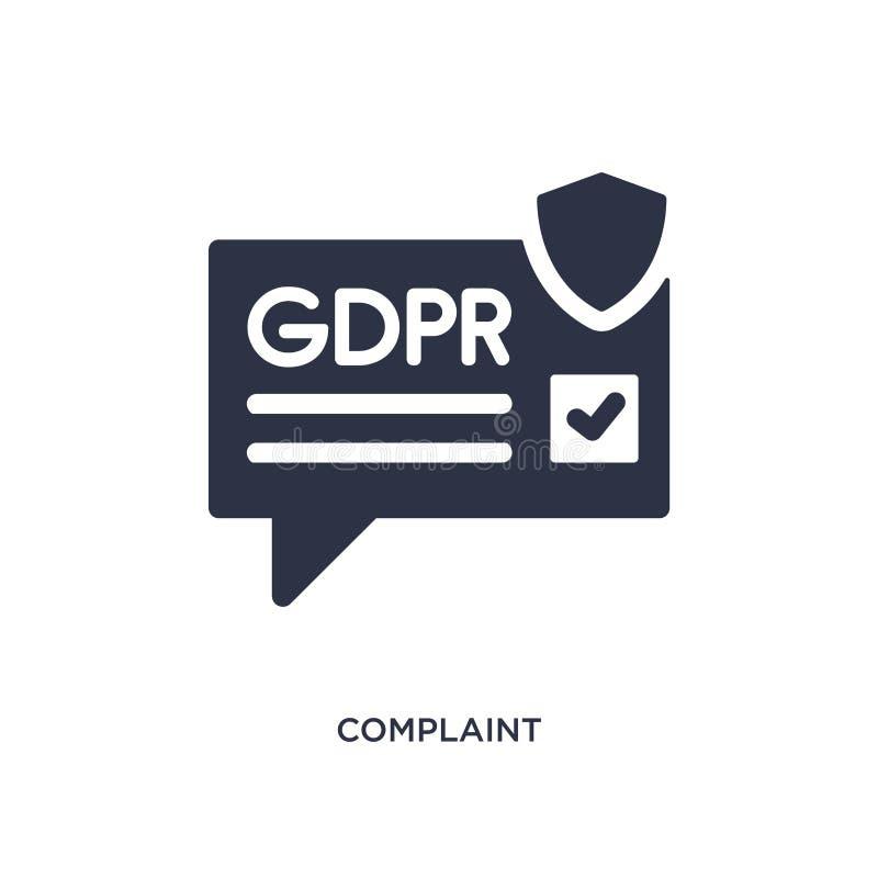 ícone da queixa no fundo branco Ilustração simples do elemento do conceito do gdpr ilustração stock