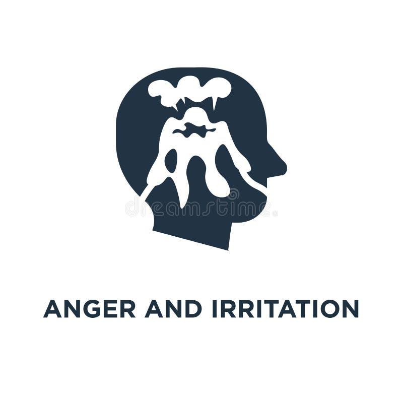 ícone da raiva e da irritação fácil explodir, comportamento histérico, erupção do vulcão no projeto principal do símbolo do conce ilustração royalty free