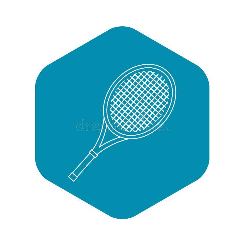 Ícone da raquete de tênis, estilo do esboço ilustração do vetor