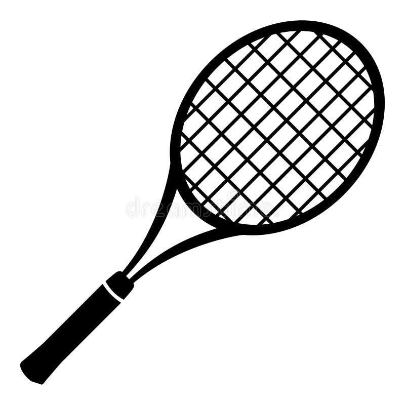 Ícone da raquete de tênis, estilo preto simples ilustração royalty free