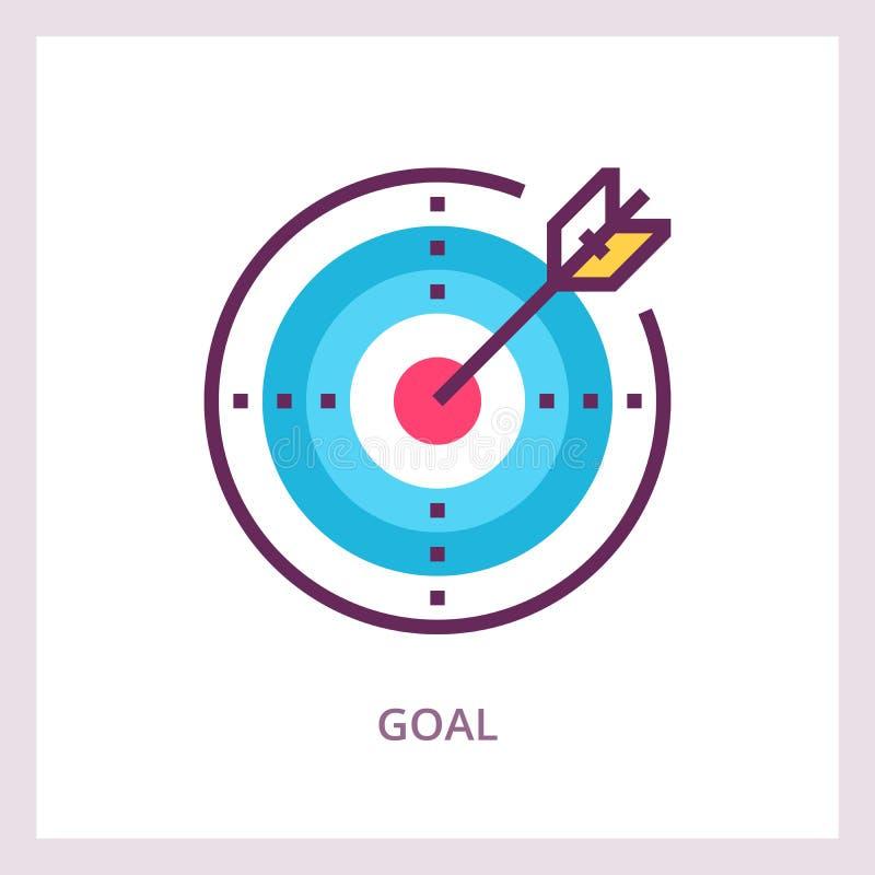 Ícone da realização do objetivo Conceito do negócio do alvo Pictograma linear do vetor ilustração stock