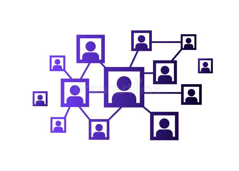 Ícone da rede, rede dos povos e ilustração sociais da equipe Vetor ilustração royalty free